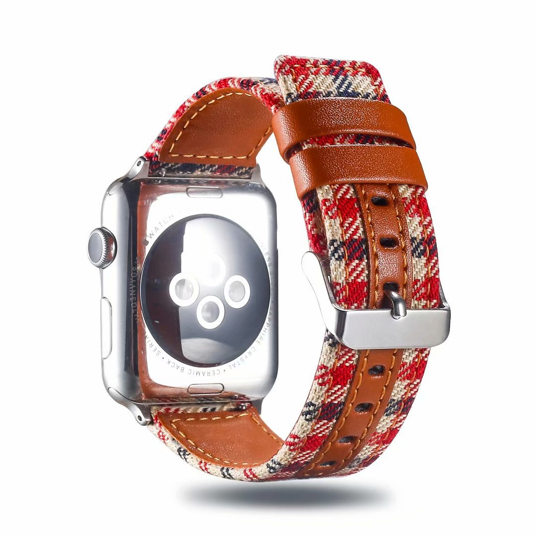 Applicable APPLE Watch 2/3/4 S Universal Apple Watch Leather Watch Strap Plaid Fabric Watch Strap