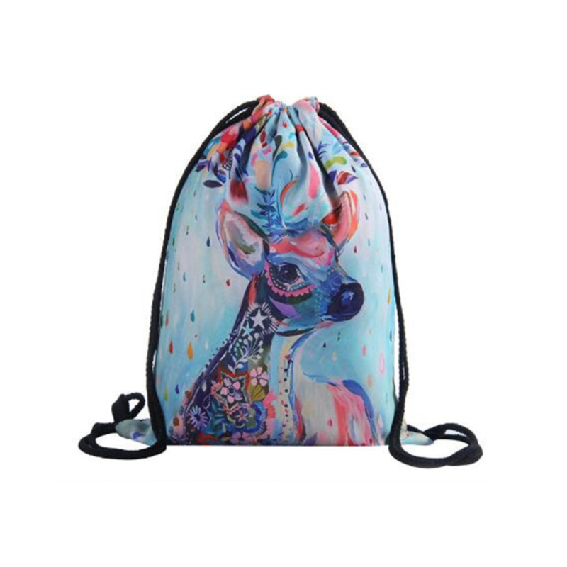 Backpack Drawstring Bag Double Rope Fawn Cartoon Drawstring Bag Backpack Backpack For Young Women Storage Bag