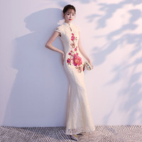 Chamgagne Womens Lace Mermaid Evening Cheongsam Wedding Party Dress Maxi Qipao Long Ball Gown Retro Vestido XS 3XL