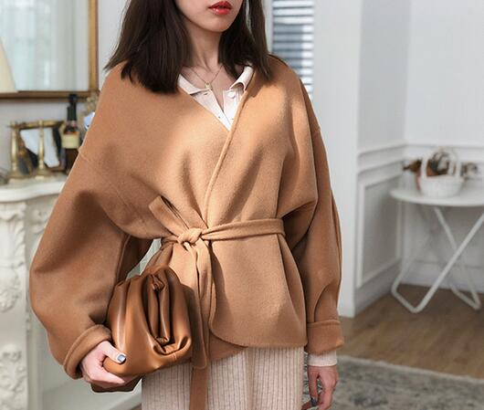Women Coat 2019 Spring Curved Contour Tie Waist Wool Cashmere Jacket|Wool & Blends| - AliExpress