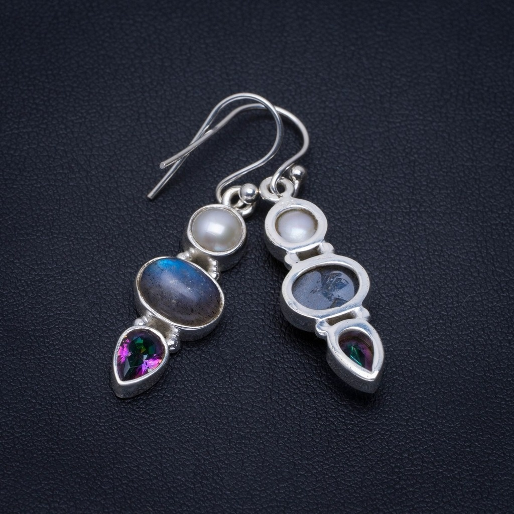 """Natural Labradorite,River Pearl and Mystical Topaz 925 Sterling Silver Earrings 1.5"""" A2611"""