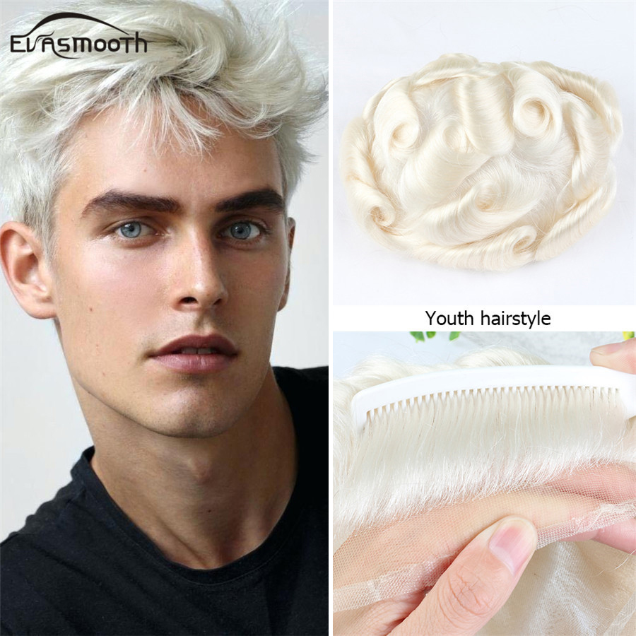 Professional Salon Men Toupee White Mens Wig Invisible Knot Full Lace Front Wig Hair System For Men Natural Hairline Remy Hair