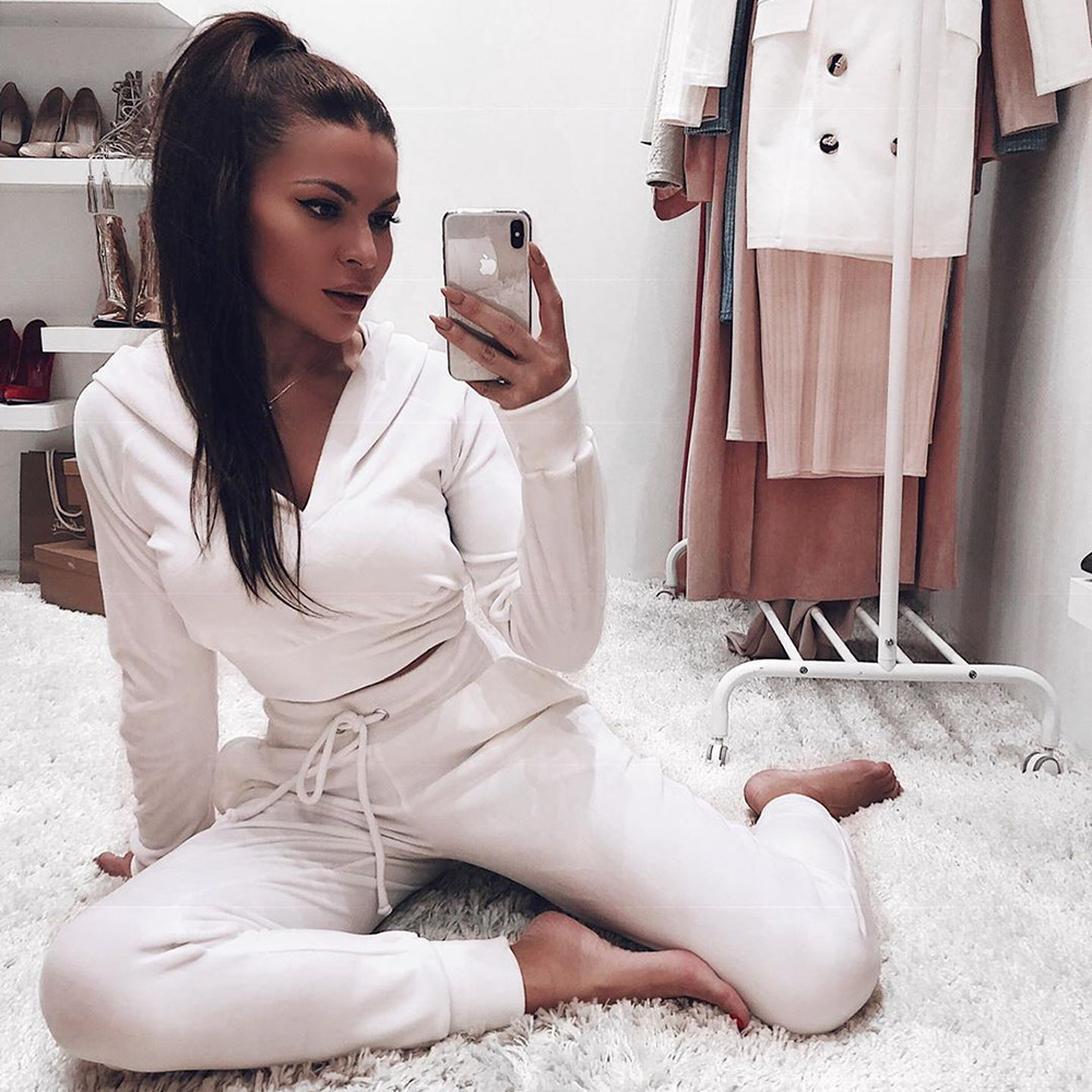 Hooded Jackets 2 Piece Set Women Clothes Autumn Winter Top And Sporting Pants Sweat Suit Two Piece Vocation Outfit Matching Sets