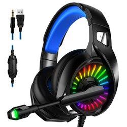 Игровые наушники PS4, 4D стерео RGB гарнитура с микрофоном, для нового геймера Xbox One/ноутбука/компьютера, планшета