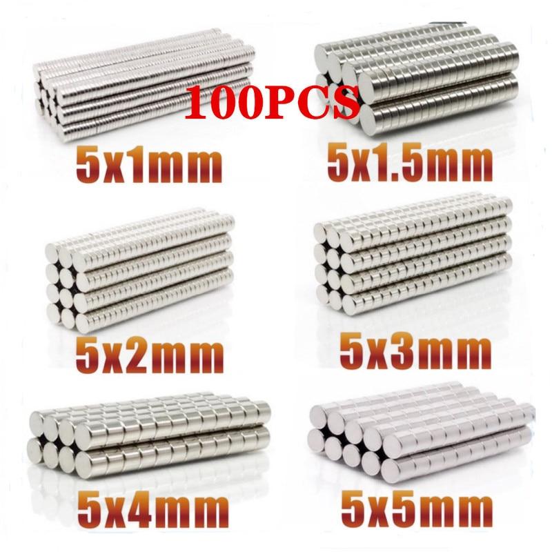 Неодимовый магнит N35, Круглый Мини-Магнит 5x1 5x100 5x2 5x3 5x4 5x5 мм, 1,5 шт.