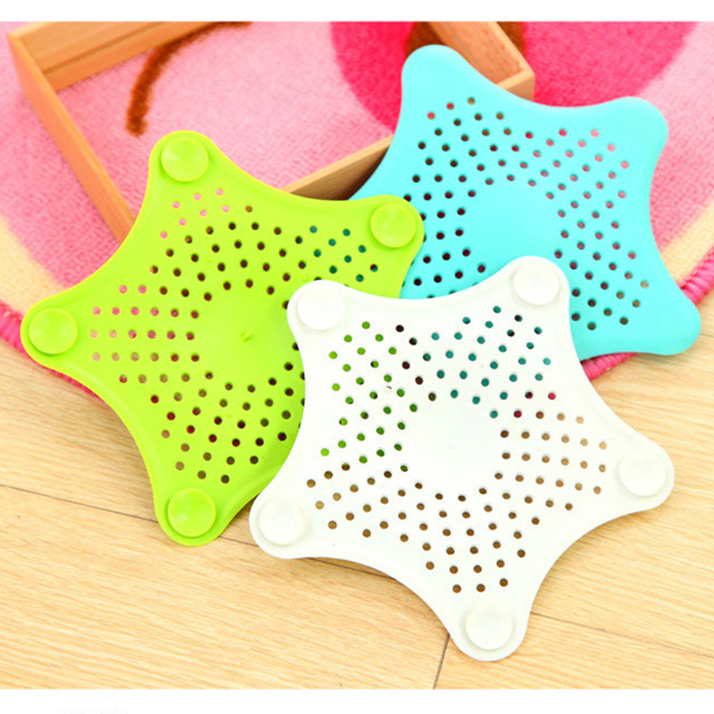3 Color Starfish Sewer Drain Anti-blocking PVC Filter Five-pointed Star Kitchen Bath Sink Waste Strainer Filter Catcher Cover