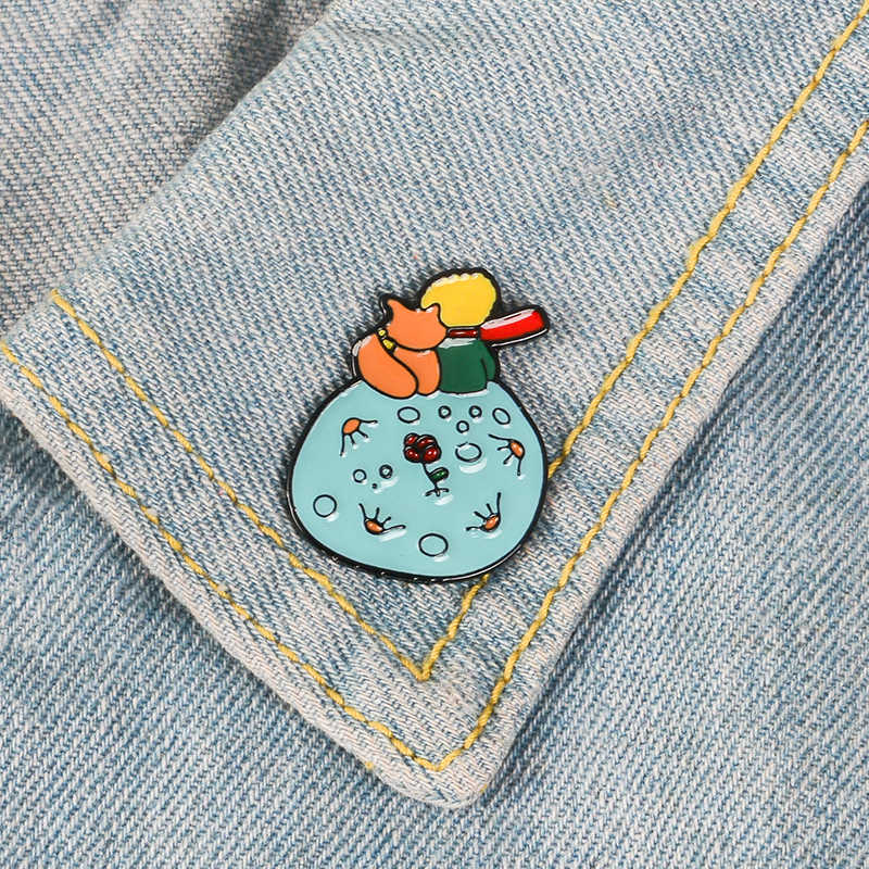 Le Petit Prince Brooches Metal Badges Don't Be A Boring Adult Hard Enamel Pin Fox Rose Jacket Jeans Decor on Backpack for Girl