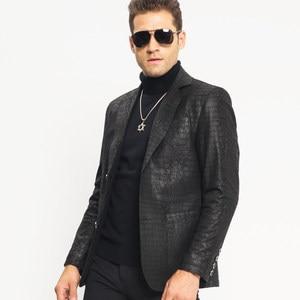 Image 5 - Man Genuine Leather Jacket Luxury Brand Sheepskin Slim Crocodile Pattern Blazer Jacket Business Single Breasted Short Coat Male
