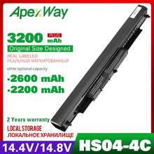 Apexway Batería de ordenador portátil de 14,4 V, 2200mAh, HSTNN LB6V, hstnn lb6v, 14 af0XX, 15g ad0XX, para HP HS03, HS04, 240, 245, 250, 255