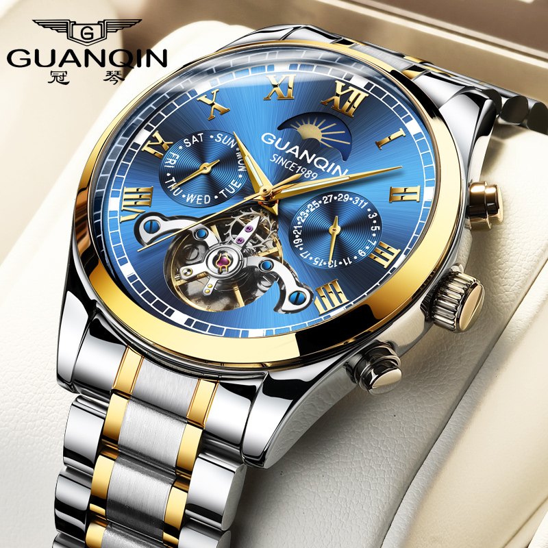 Guanqin 2020 New Watch Male Mechanical Watch Automatic Hollow Tourbillon Waterproof Luminous Belt Men's Watch Dual Calendar Mult