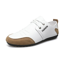 Fall New Men's Loafers White Leather Fashion Casual Shoes Trend Soft-Soled Driving Shoes Men 2021