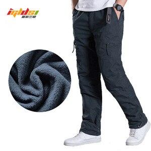 Image 1 - 男性のフリース貨物パンツ冬厚く暖かいパンツ全身マルチポケットカジュアル軍事だぶだぶ戦術的なズボンプラスサイズ 3XL