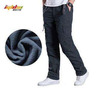 Image 1 - Calças de carga de lã masculina inverno grosso calças quentes comprimento total multi bolso casual militar baggy tático calças mais tamanho 3xl