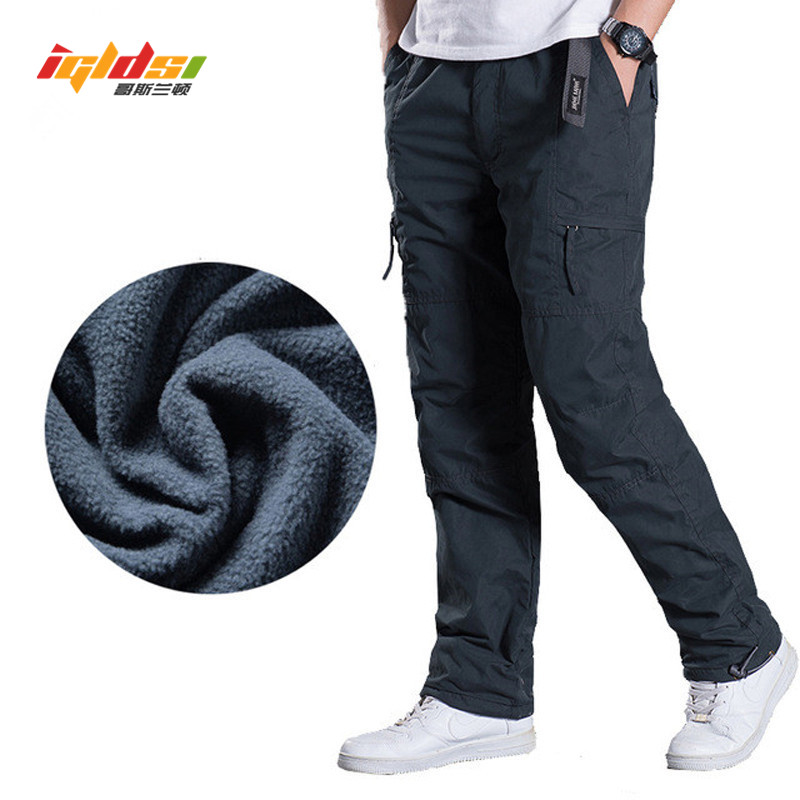 Men's Fleece Cargo Pants Winter Thick Warm Pants Full Length Multi Pocket Casual Military Baggy Tactical Trousers Plus Size 3XL