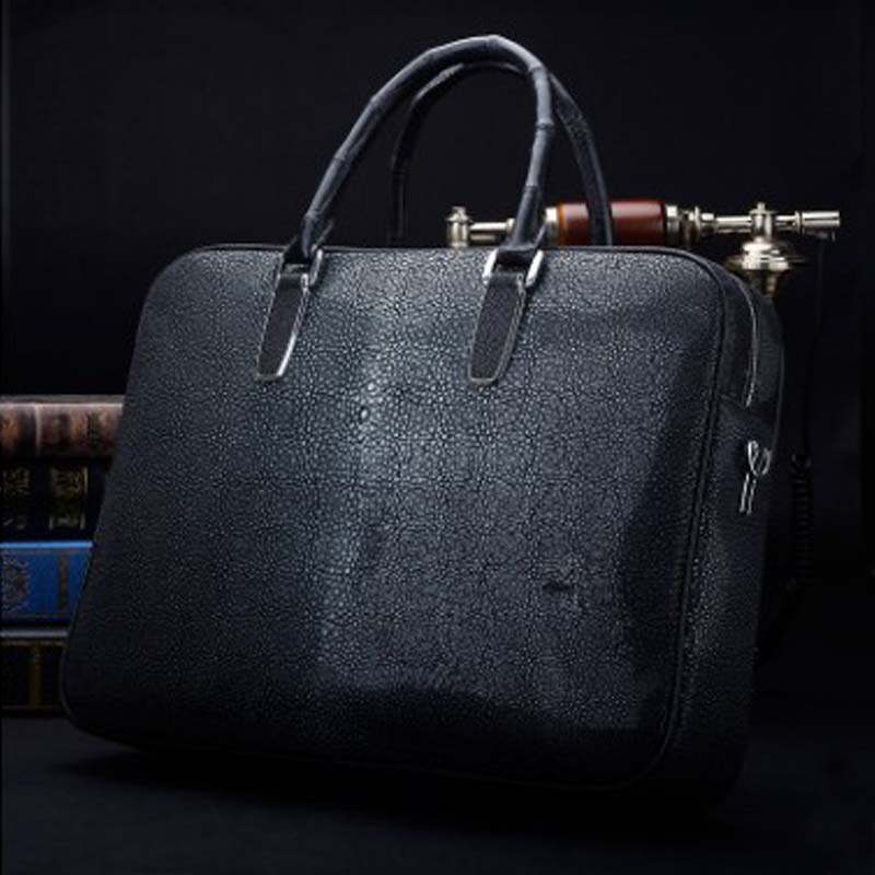 Ourui Summer  New Selling Pearl Fish Skin Men A Briefcase Black Genuine Fish Skin Leather Men Handbag