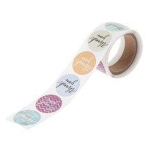 Rouleau de 100 pièces d'étiquettes en papier type sceau avec écrit merci, autocollant de décoration personnalisé pour boîte, cadeau, cuisson,