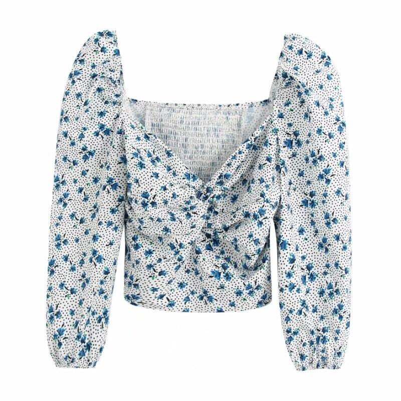Women Sexy Deep V Neck Print Dot Short Shirt Puff Sleeve Slim Blouses Women Back Elastic Roupas Femininas Chemise Shirts LS6414