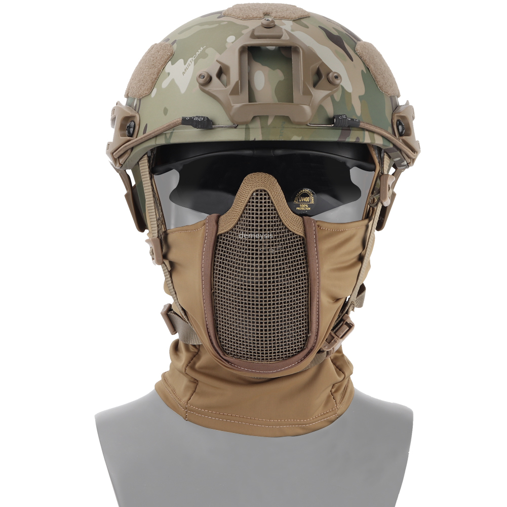 Half Face Hunting Protective Headgear Mask Tactical Combat Breathable Mask Steel Mesh Protective Military Airsoft Paintball Mask