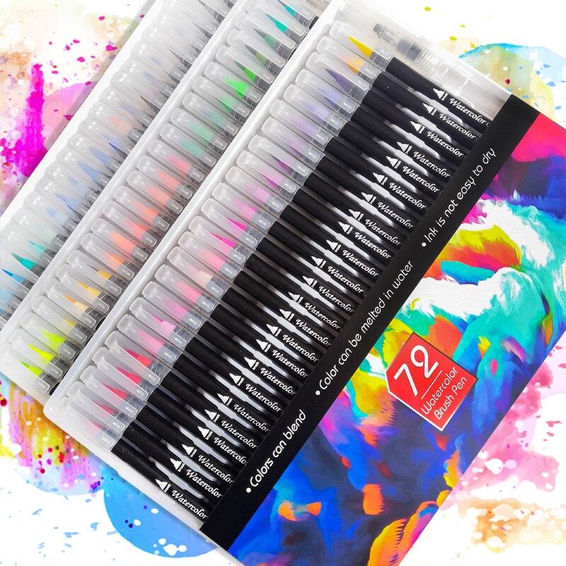 72Colors Watercolor Brush Pen Art Marker Felt Painter Calligraphy School Art Supplies Lettering Coloring Pens Set For Manga
