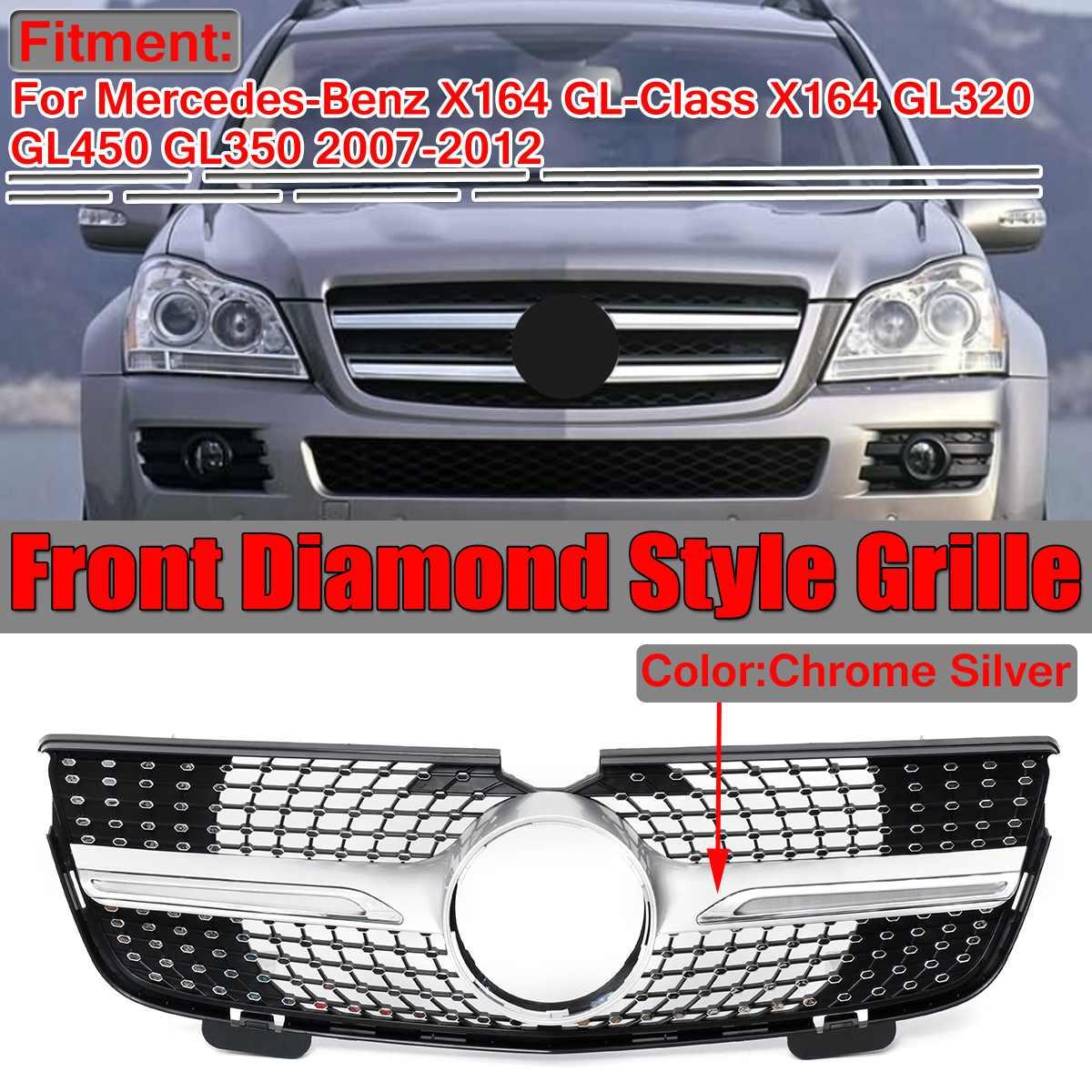 Haute qualité X164 diamant gril voiture pare-chocs avant Grille pour Mercedes ForBenz X164 GL320 GL450 GL350 2007-2012