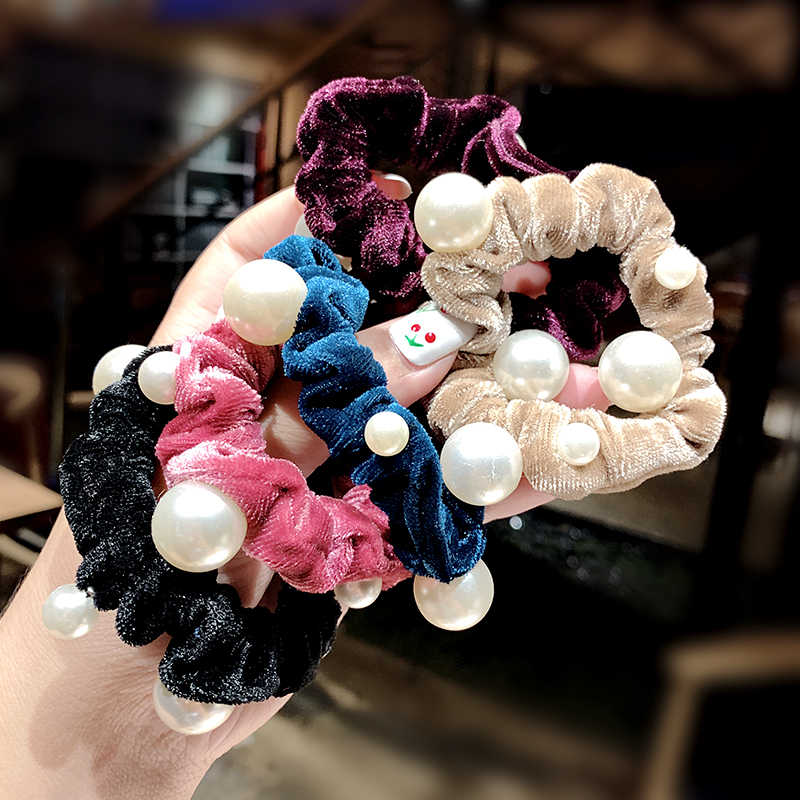 New Women Pearl Colorful Coral Fleece Elastic Hair Bands For Girls Sweet Ponytail Holder Rubber Bands Scrunchie Hair Accessories
