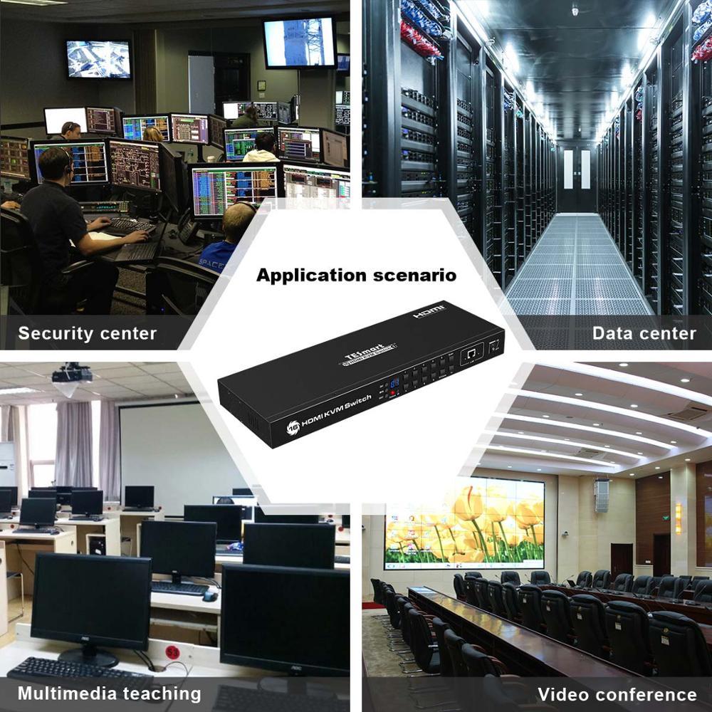 Купить с кэшбэком KVM Switch 16 Port USB HDMI KVM Switcher 16 In 1Out KVM HDMI Switch 16x1 Support 4k@30Hz RS232 LAN 2 Pcs Rack Ears Standard 1U