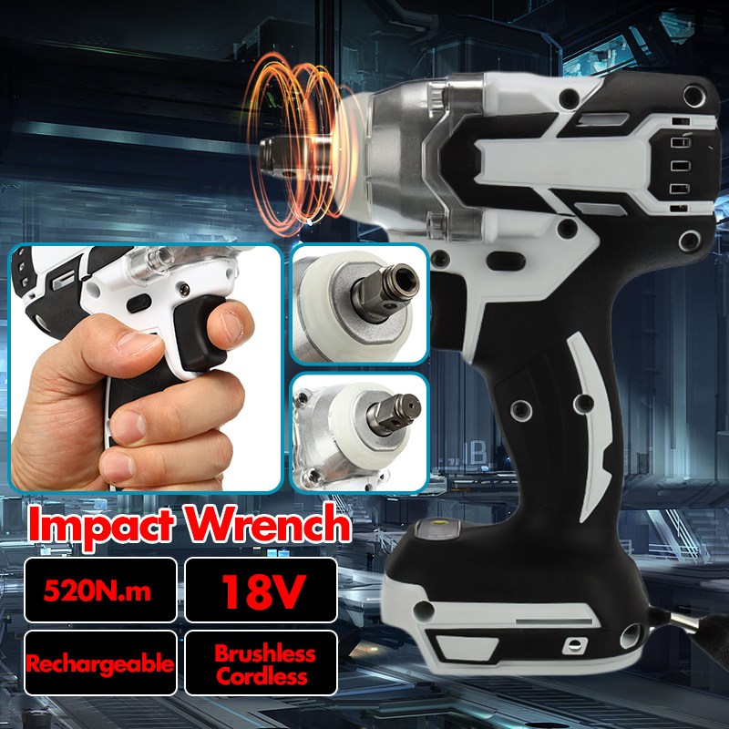 1280W 18V Brushless Electric Hammer Cordless Drill 240-520NM Torque Adjustable Impact Wrench Power Tool No Charger No Battery