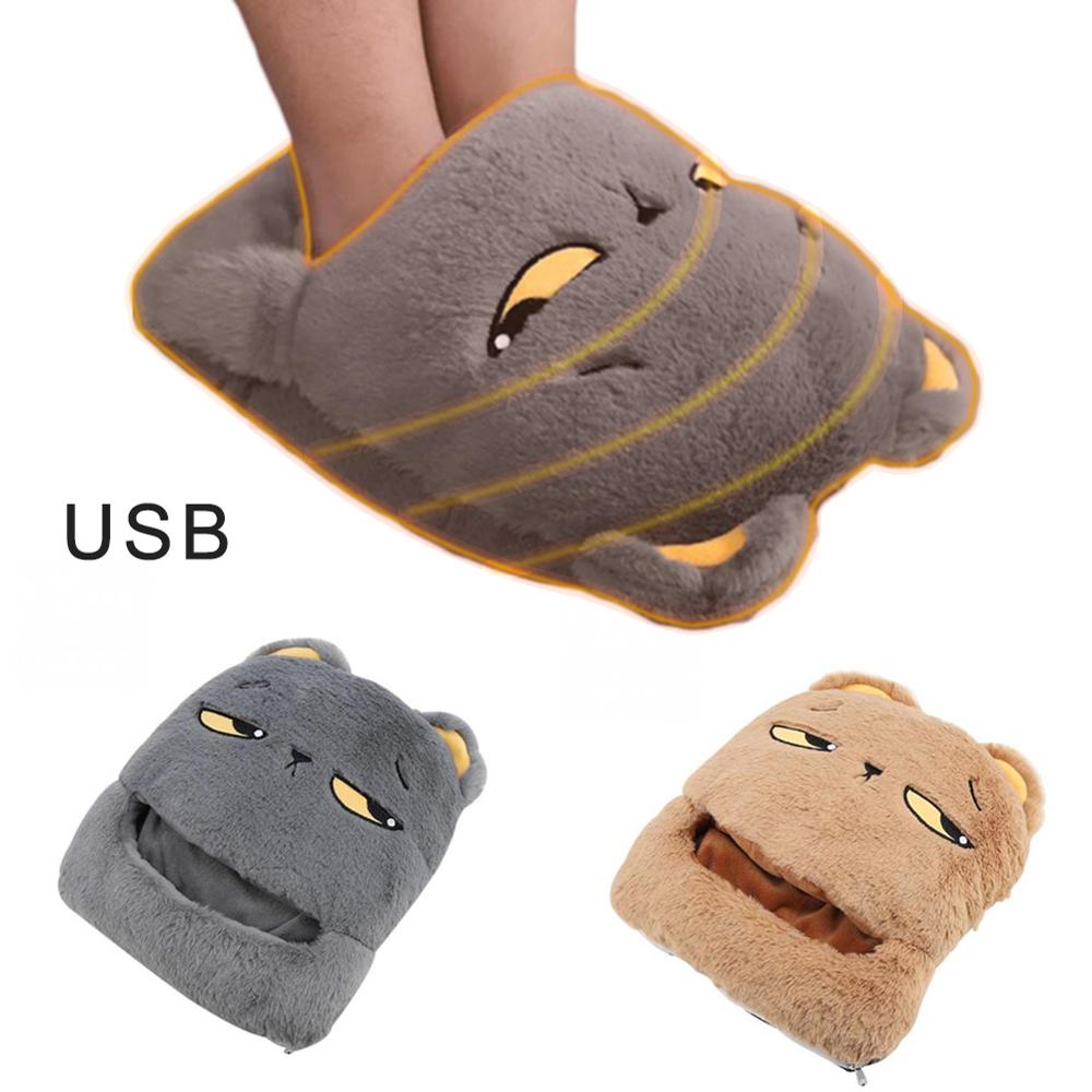 Cute Foot Warmer USB Warm Feet Shoes Winter Electric Heat Slipper For Home Office