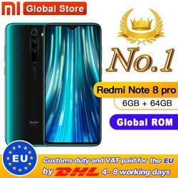 Globale di ROM Originale Xiaomi Redmi Nota 8 pro 6GB 64GB MTK Helio G90T Smartphone 6.53 64MP Quad posteriore Della Macchina Fotografica 4500mAh Batteria