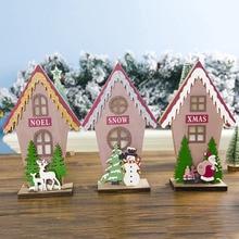 Christmas Ornaments Luminous Cabins Ornament Hotels Bar  Crib Tent Hanging Wooden Santa Snow Decoration Kids Room Decor Storeazz cabins