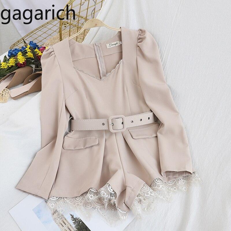 Gagarich Women Sexy Jumpsuit Fashion Sashes Slim Waist Back Zipper Ladies Elegant Solid Lace Wide Leg Short Bodysuits Spring