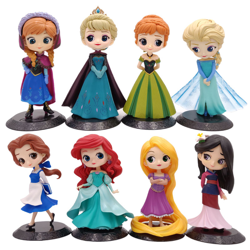 Disney 21 Styles Q Posket Frozen Queen Elsa & Anna Figure Toys Dolls Aurore PVC Anime Dolls Figures Collectible Model Kids Toys