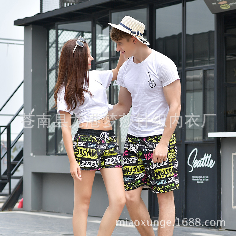 2018 Quick-Dry Seaside Holiday Beach Shorts Men's Hot Springs Boxer Loose-Fit Couples Swimming Pants Short Shorts Women's Big Fl