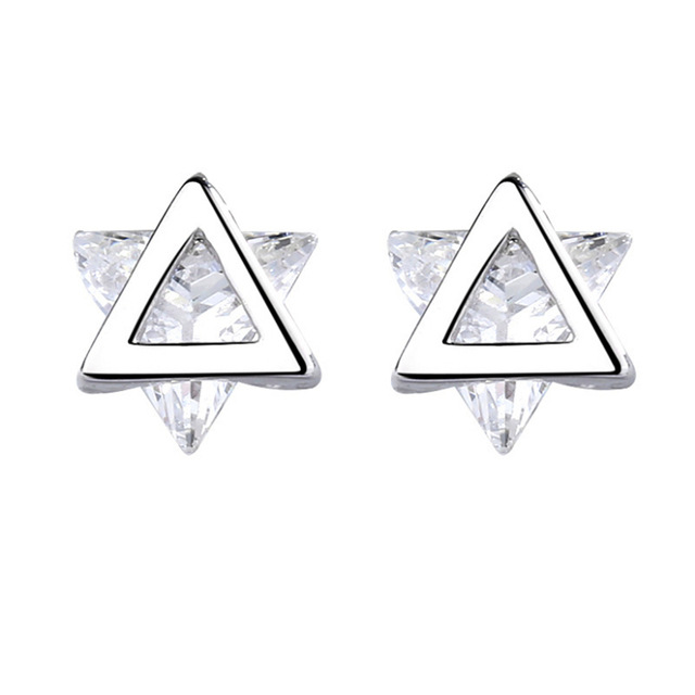 Simple Trendy Triangle Crystal Women's fashion 2019  Tibetan Sliver Push Back Small Mini Summer Whole Sale Studs For Women G751