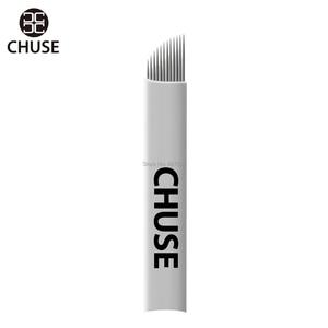 Image 2 - CHUSE agujas de maquillaje permanente S12, cuchillas de bisel manuales para Microblading de cejas, 12 pines para máquina de tatuaje y bolígrafo