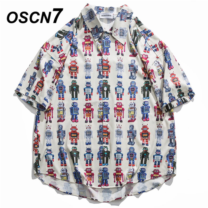 OSCN7 Casual Street Printed Short Sleeve Shirt Men 2020 Hawaii Beach Oversize Women Fashion Harujuku Shirts for Men 40240