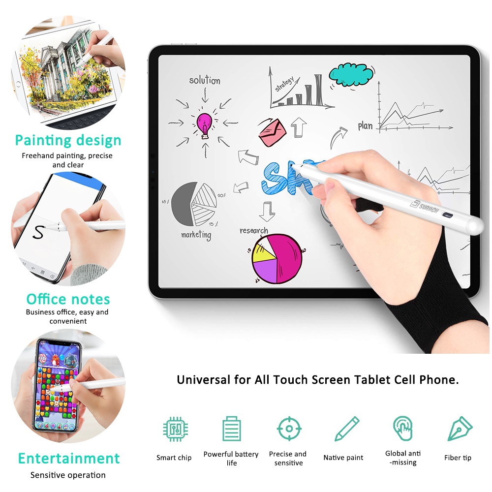 Stylus Pen Pencil Tablet 1.5mm Rechargeable Stylus With Write Gloves High Sensitivity For All Touch Screen Mobile Phone White