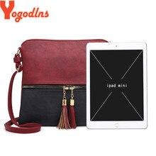Yogodlns 2020 Fashion Women Crossbody Bag Vintage Messenger Bag High Quality Retro Tassels Shoulder Bag Patchwork Crossbody Bag