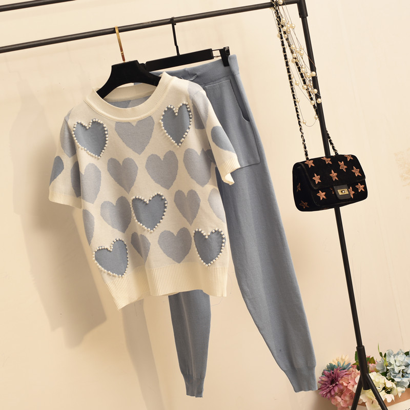 2020 new spring 2 piece set women Pearl heart short sleeve top and solid Loose lace-up trousers loose 2 piece sets for women