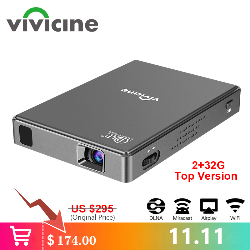 Mini projecteur LED WIFI VIVICINE T10, batterie intégrée android 7.1 Bluetooth, prise en charge de la mise en miroir filaire et de la mise en miroir sans fil Miracast/DLNA