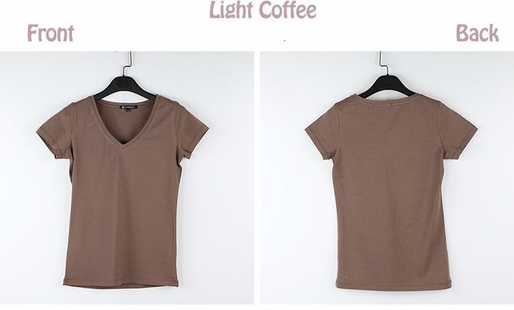 High Quality V-Neck 15 Candy Color Cotton Basic T-shirt Women Plain Simple T Shirt For Women Short Sleeve Female Tops 077 7