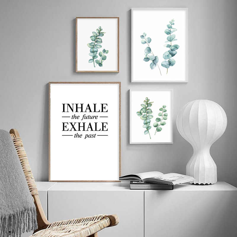 Watercolor Eucalyptus Leaves Wall Art Canvas Painting Green Plant Nordic Optimistic Quote Posters and Prints Home Decoration