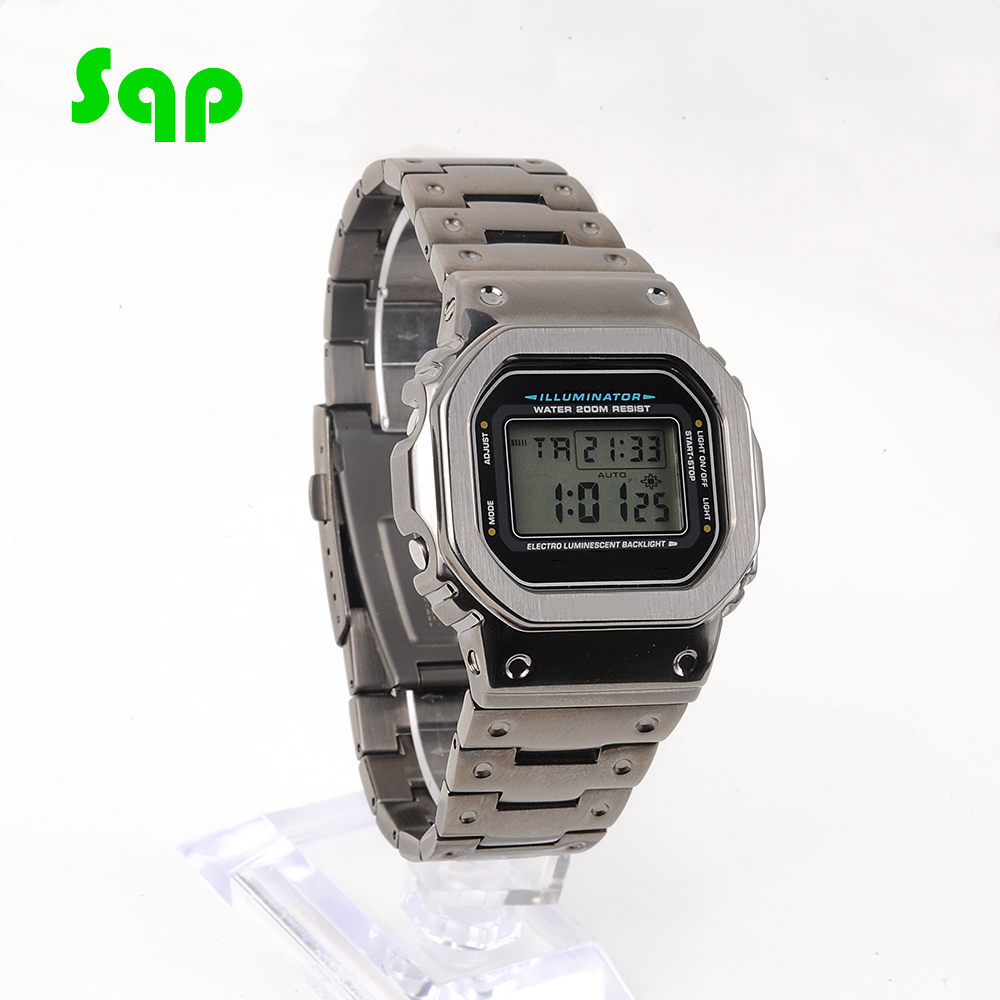 Cool Black DW5600 GW-M5610 Watchband Bezel/Case 100% Metal 316L Stainless Steel