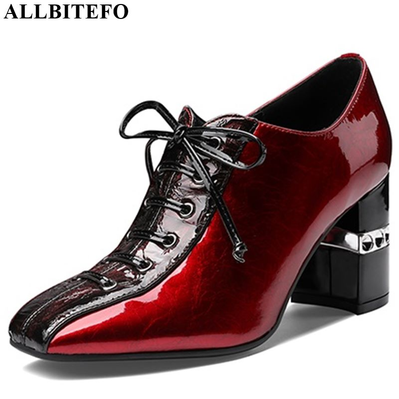 ALLBITEFO High Heel Shoes Spring Autumn Natural Genuine Leather Women Heels Fashion Square Toe Office Ladies Shoes Frenulum