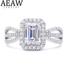 1.0carat 5x7mm DF Color Emerald Cut Moissanite Engagement Ring Solid Real 18K White Gold Fine Ring for Lady Certificated