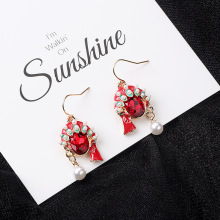 HelloMiss Retro Chinese style crystal pearl Beijing opera face earrings fashion asymmetric new womens jewelry
