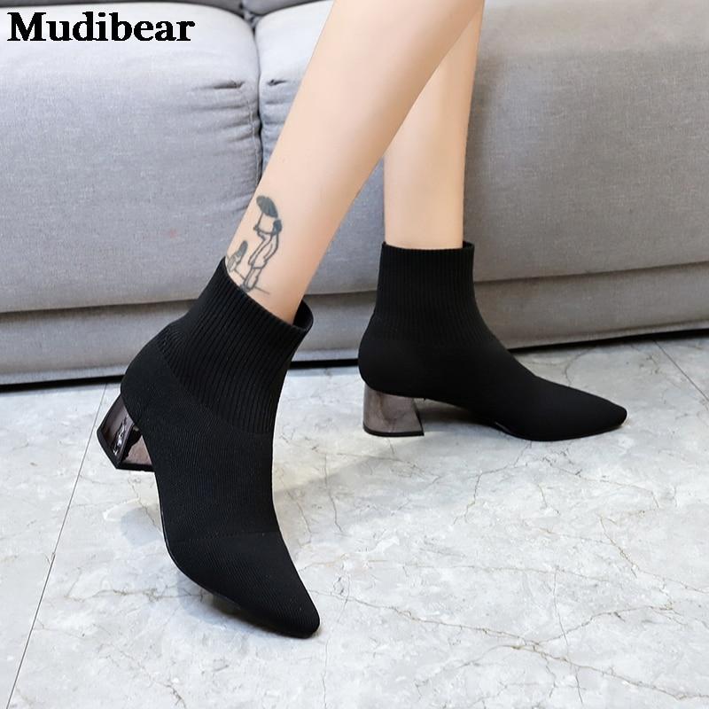 Купить mudibear/зимняя обувь на высоком каблуке женские ботинки из