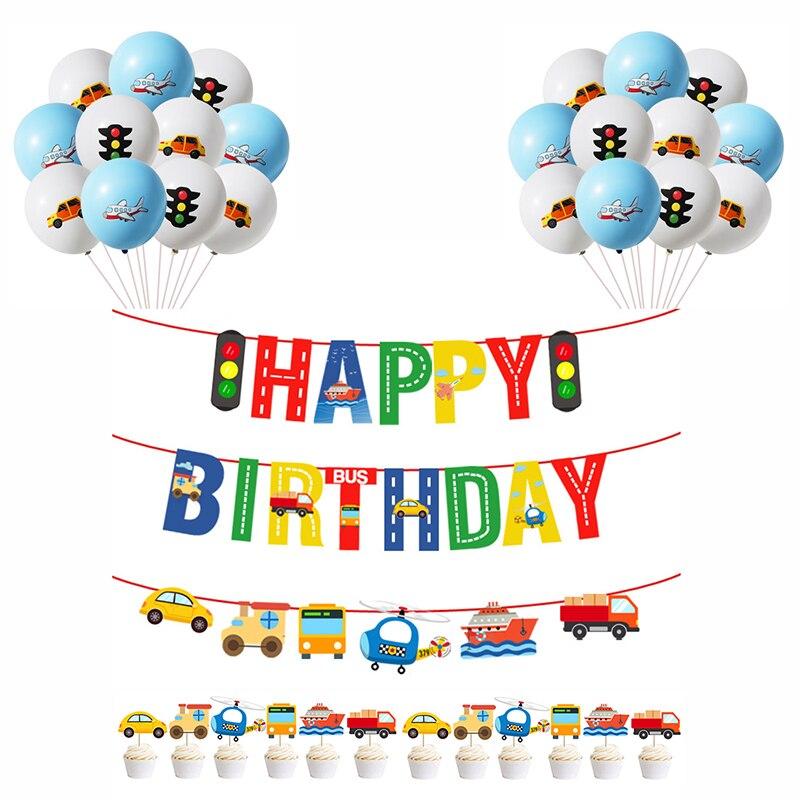 С днем рождения баннер комплект самолет автомобиля корабля транспортер баннер воздушный шар гирлянды украшения ко дню рождения Детская дв...