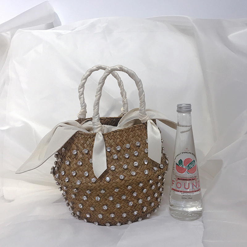Hand-sewn Holiday Fashion Water Drill Dotted With Pearl Ladies Hand Bags Straw Woven Basket  Handbags And Purses For Woman 2020