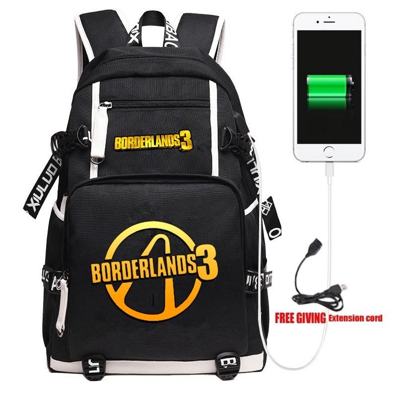 New Game Borderlands 3 Backpack Unisex Travel Shoulder Laptop Bags Cartoon Teens Kids Student School Bags Bookbag Gift